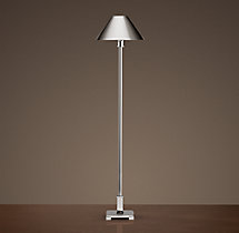 Petite Candlestick Buffet Lamp Polished Nickel with Metal Shade