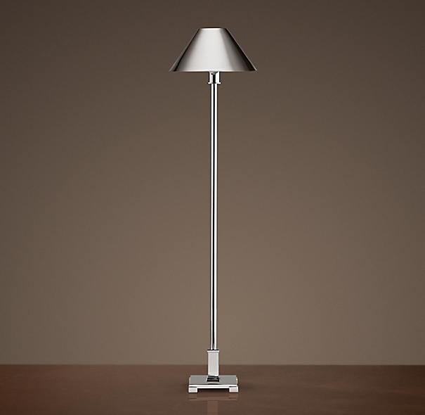 Petite Candlestick Buffet Lamp Polished Nickel With Metal