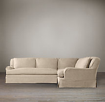 Preconfigured Belgian Classic Roll Arm Slipcovered Corner Sectional