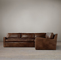 Preconfigured Belgian Slope Arm Leather Corner Sectional