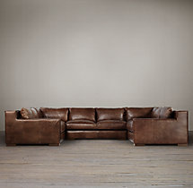 Preconfigured Capri Leather U-Sofa Sectional