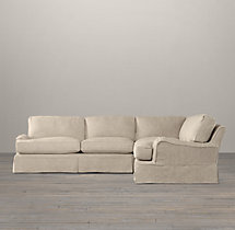 Preconfigured English Roll Arm Slipcovered Corner Sectional