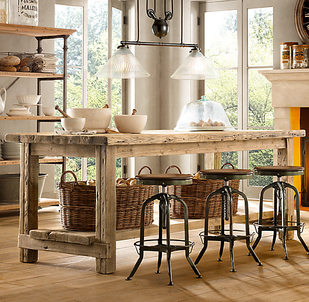 Small Kitchen Islands: Salvaged Wood Small Kitchen Island