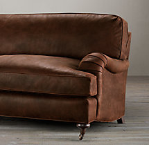 7' English Roll Arm Leather Sofa
