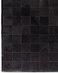 South American Cowhide Tile Rug - Black