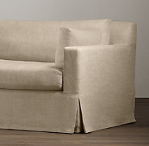 8' Belgian Track Arm Slipcovered Two-Seat-Cushion Sofa