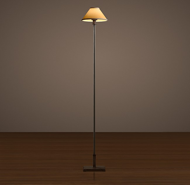 Petite candlestick floor lamp with linen shade aloadofball Image collections