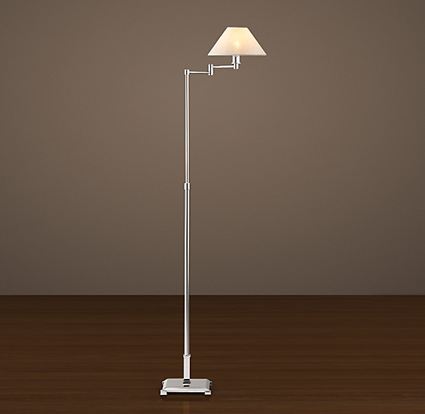 Petite Candlestick Swing Arm Floor Lamp With Linen Shade