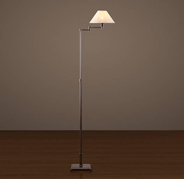 petite candlestick swing arm floor lamp with linen shade With petite candlestick swing arm floor lamp bronze with linen shade