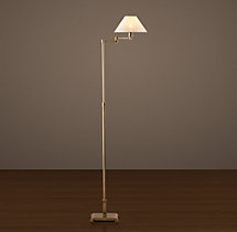 Petite Candlestick Swing-Arm Floor Lamp with Linen Shade