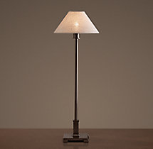 Petite Candlestick Table Lamp with Linen Shade