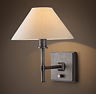 Petite candlestick sconce with linen shade for Restoration hardware window shades