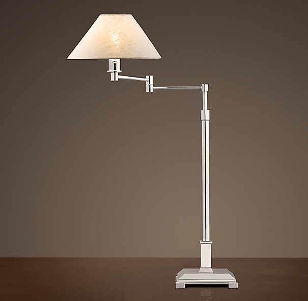 Petite Candlestick Swing Arm Table Lamp With Linen Shade