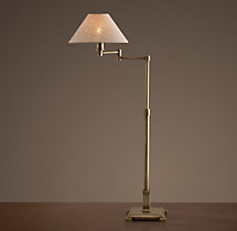 Petite Candlestick Swing-Arm Table Lamp with Linen Shade