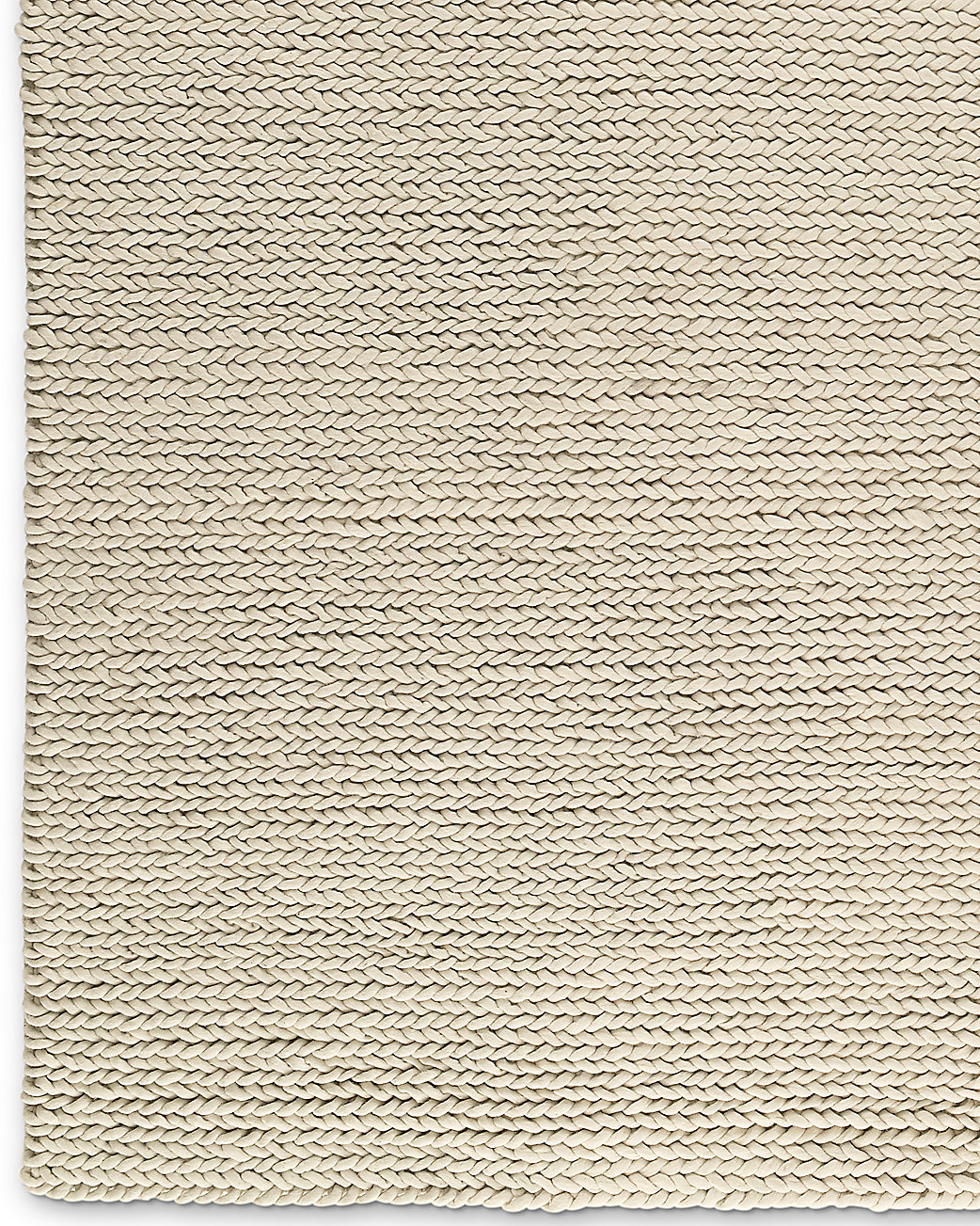 Chunky Braided Wool Rug Cream