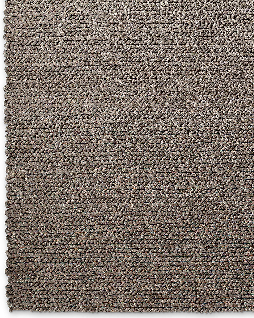 Chunky Braided Wool Rug Grey