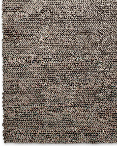 Chunky Braided Wool Rug - Grey