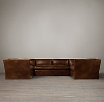 Preconfigured Belgian Shelter Arm Leather U-Sofa Sectional