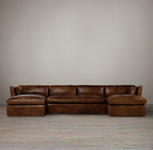 Preconfigured Belgian Shelter Arm Leather U-Chaise Sectional