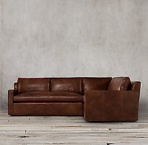 Preconfigured Belgian Track Arm Leather Corner Sectional