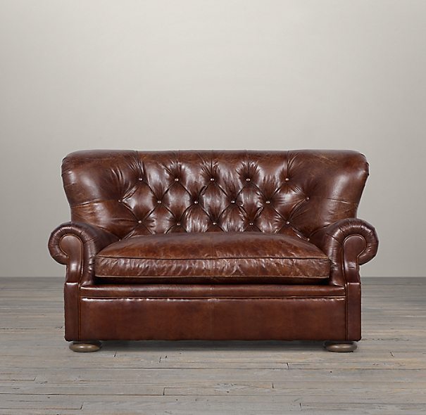 6 39 churchill leather sofa for Restoration hardware churchill sofa