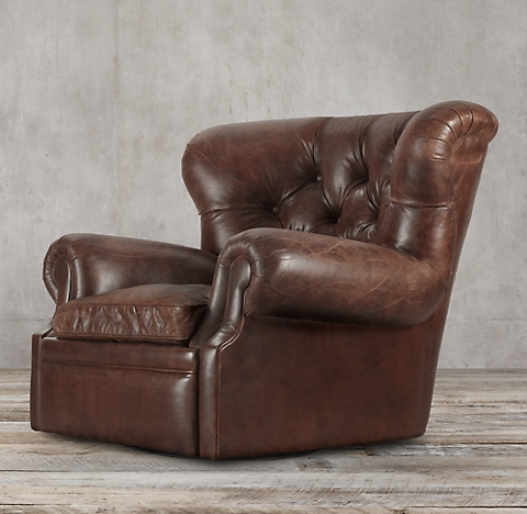 Churchill Leather Swivel ChairRecliners   Swivels   RH. Reclining Chair And A Half Leather. Home Design Ideas