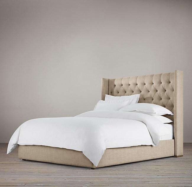 Lawson Shelter Diamond Tufted Fabric Platform Bed