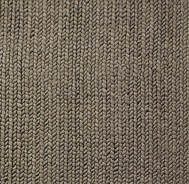 Chunky Braided Wool Rug Swatch Grey