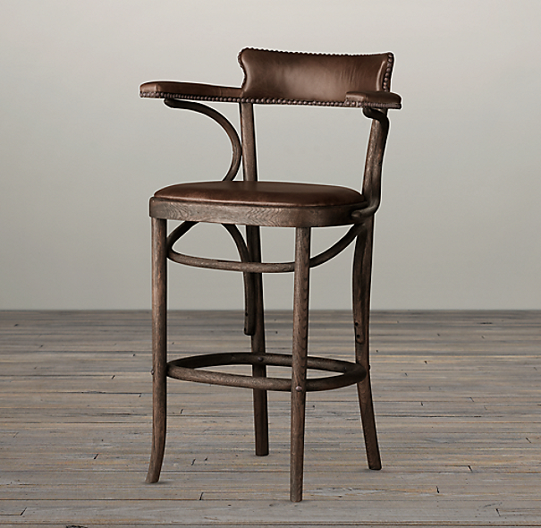 Vienna Caf 233 Leather Counter Stool Antiqued Whiskey