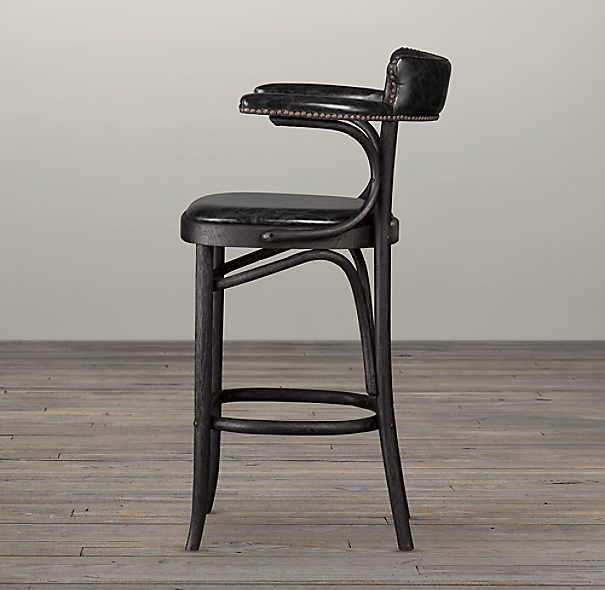 Vienna Caf 233 Leather Counter Stool Slate