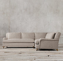 Preconfigured Belgian Classic Roll Arm Upholstered Corner Sectional