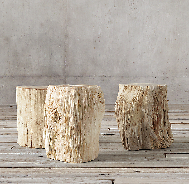 Petrified Wood Stump Mixed Side Table Color Preview Unavailable Previous
