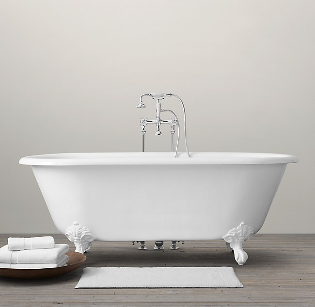 Vintage Imperial Clawfoot Soaking Tub With Floor Mounting Ings White Feet