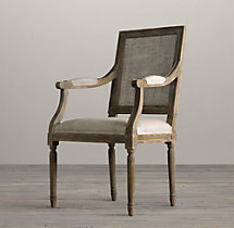 Vintage French Square Cane Back Fabric Armchair