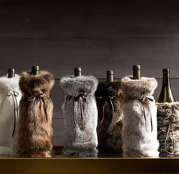RH's Luxe Faux Fur Wine Bag:FREE SHIPPING For an extra-indulgent gift, slip favorite vintages into this sumptuous fur wine bag from our luxurious faux collection. Artfully woven from finely spun strands, the bag beautifully re-creates the natural weight, depth of color and indulgent softness of genuine fur.