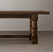 Salvaged Wood Gun Barrel Rectangular Extension Dining Table