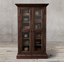 Salvaged Wood Glass Double-Door Cabinet