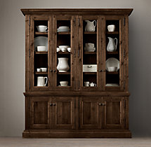 Salvaged Wood Glass 4-Door Sideboard & Hutch