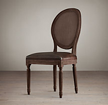 Vintage French Round Cane Back Leather Side Chair