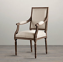 Vintage French Square Fabric Armchair