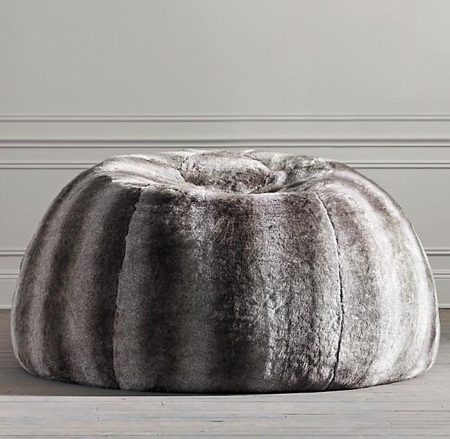 Luxe Faux Fur Double Bean Bag Chinchilla