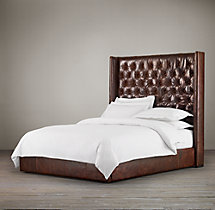 Adler Tufted Leather Platform Bed