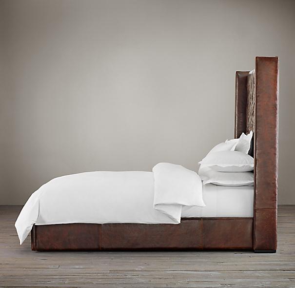 Adler Shelter Diamond Tufted Leather Platform Bed