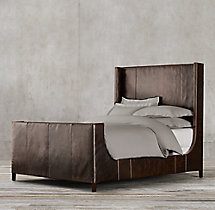 Grayson Leather Sleigh Bed With Footboard