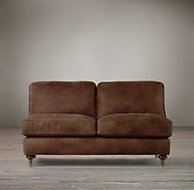 English Roll Arm Leather Armless Sofa