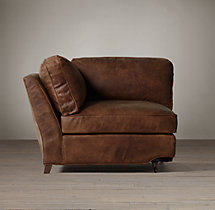 English Roll Arm Leather Corner Chair