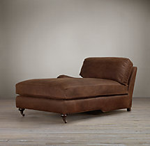 English Roll Arm Leather Left-Arm Chaise