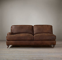 English Roll Arm Leather Left-Arm Sofa