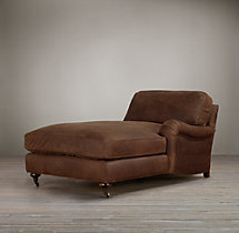 English Roll Arm Leather Right-Arm Chaise