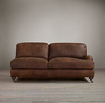 English Roll Arm Leather Right-Arm Sofa